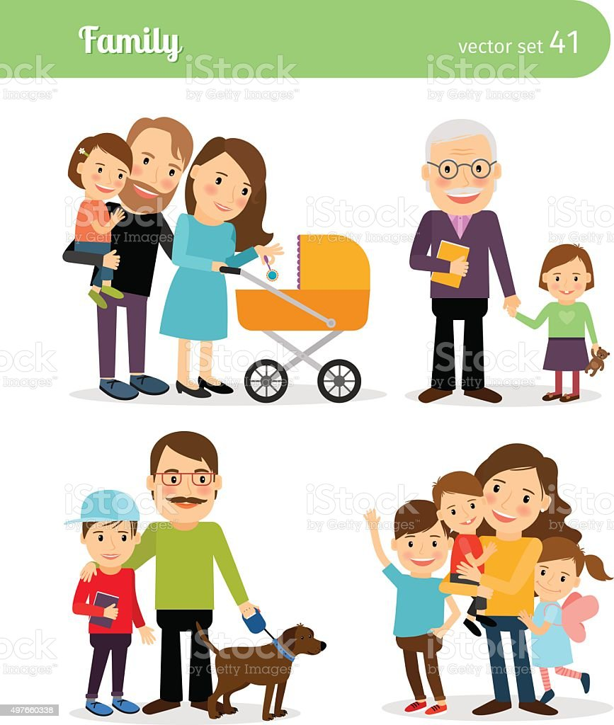 Happy family characters vector art illustration