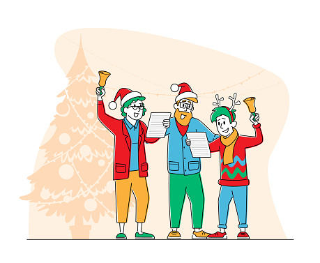 Happy Family Characters Wearing Santa Claus and Reindeer Hats Singing Christmas Songs and Ringing Bells People Carolling
