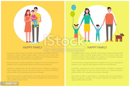 Happy family children posters with text and isolated mother and father with kids. Woman and man holding hands of child. Mom and dad with son vector