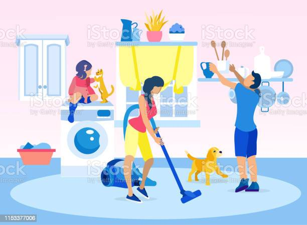 Happy family cleaning home together illustration vector id1153377006?b=1&k=6&m=1153377006&s=612x612&h=kuilrth90nmaso9m3lcekckzzuogln5 oxqnmasbqck=