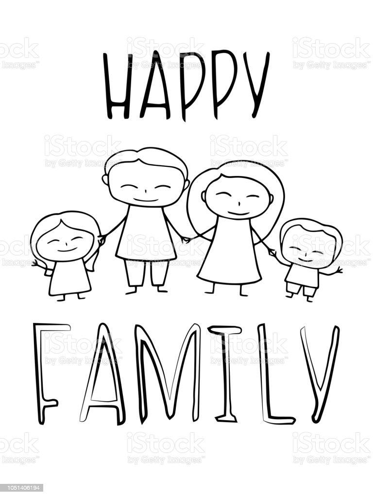 Ilustracion De Familia Feliz Para Colorear Ilustracion Vectorial Y