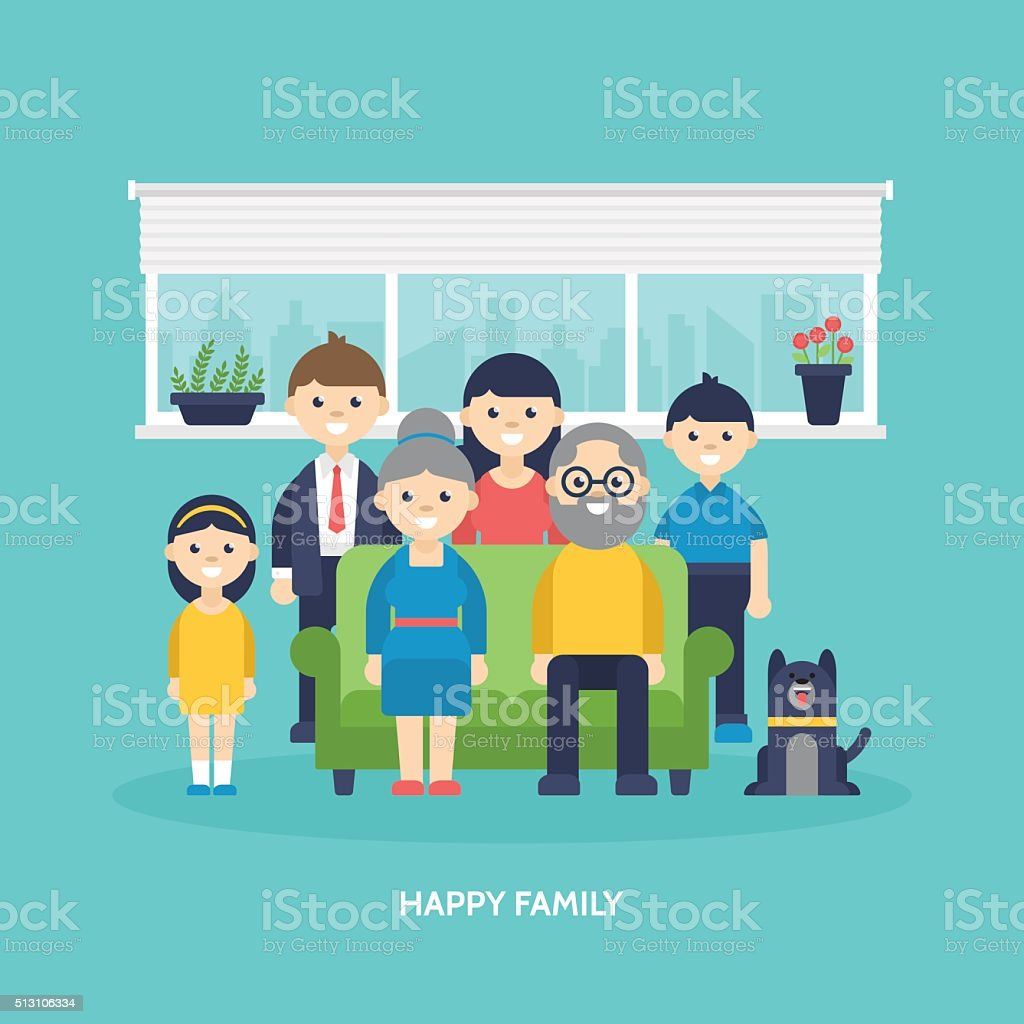 Happy family concept. Parents, kids and grandparents togetther at home vector art illustration