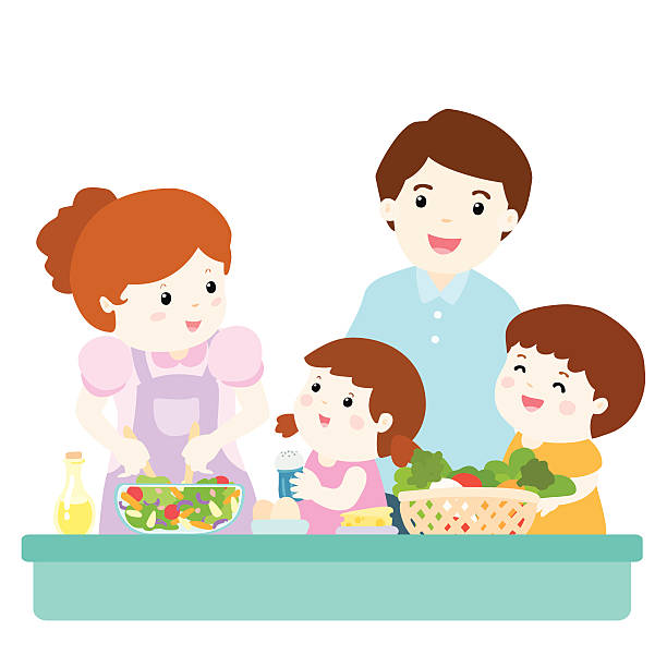 Royalty Free Family Eating Together Clip Art, Vector ...