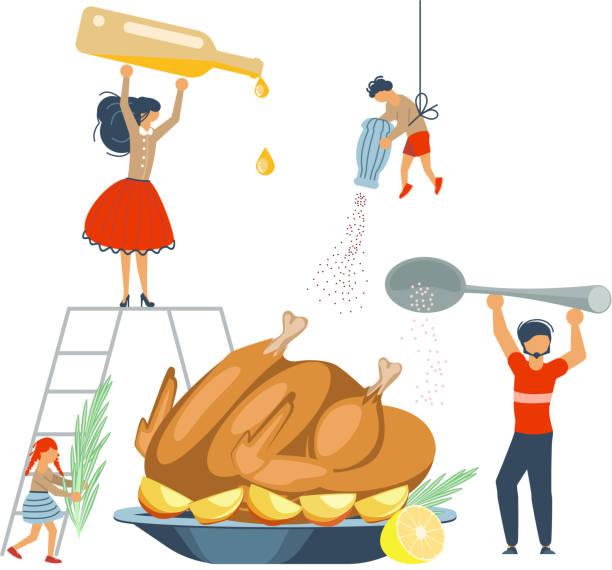 illustrazioni stock, clip art, cartoni animati e icone di tendenza di happy family cooking concept. - christmas cooking