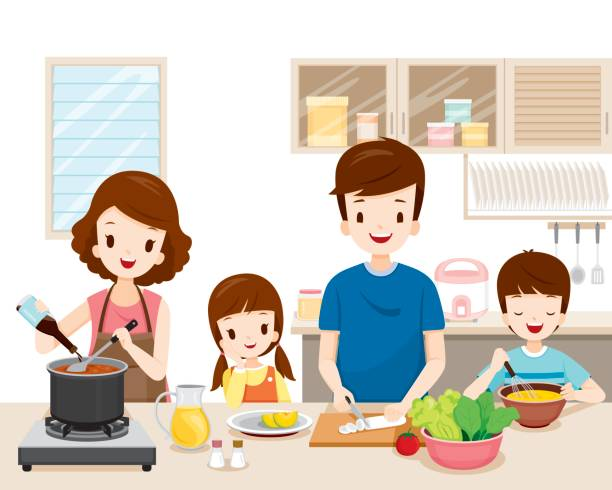 Happy Family Cooking Food In The Kitchen Together vector art illustration