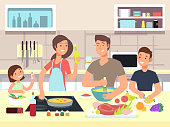 Happy family cooking. Mother and father with kids cook dishes in kitchen cartoon vector illustration. Family cooking, mother and father on kitchen