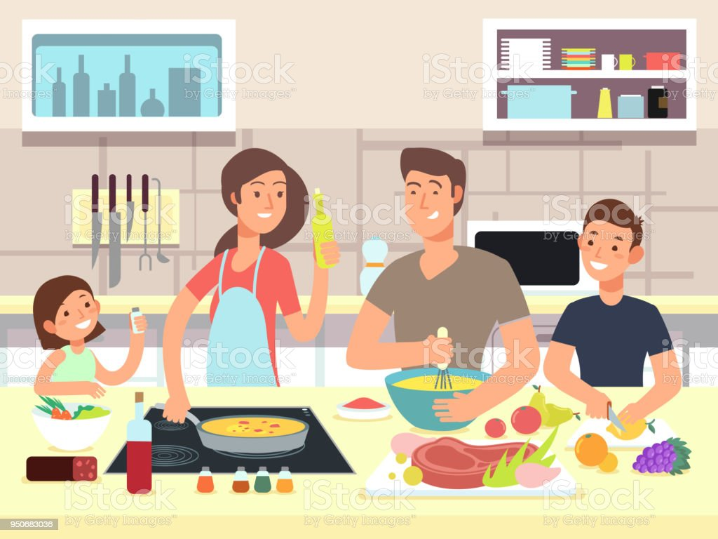 Cuisine familiale heureuse. Mère et père d'enfants cuisent des plats en illustration vectorielle de cuisine dessin animé - Illustration vectorielle