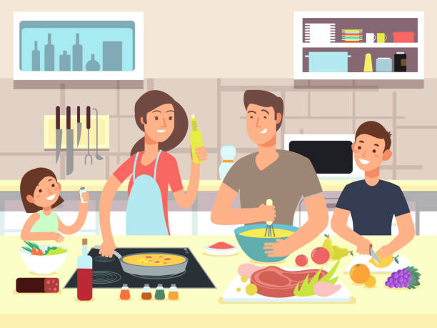 illustrazioni stock, clip art, cartoni animati e icone di tendenza di happy family cooking. mother and father with kids cook dishes in kitchen cartoon vector illustration - cucina domestica
