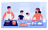 Happy family cooking together isolated flat vector illustration. Cartoon mother, son, father and daughter preparing food. Kitchen, culture and happiness concept