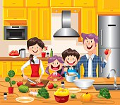 A happy couple with kids Cooking together in kitchen