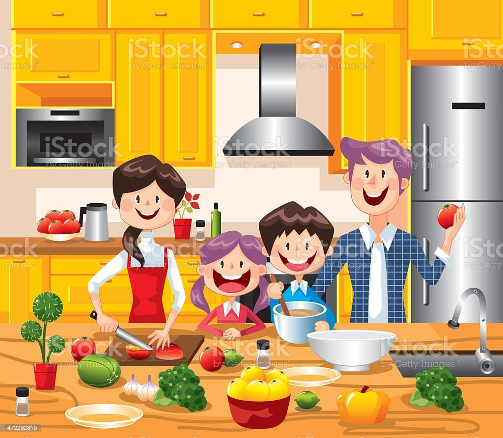 Happy Family Cooking together vector art illustration