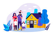 Happy family couple with kids and pet standing together outside, in front of their house. Vector illustration for home, real estate, residential area concept