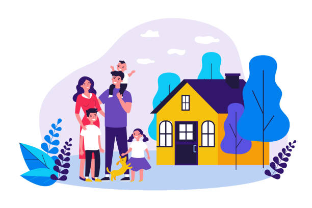 Happy family couple with kids and pet standing together Happy family couple with kids and pet standing together outside, in front of their house. Vector illustration for home, real estate, residential area concept happy family stock illustrations