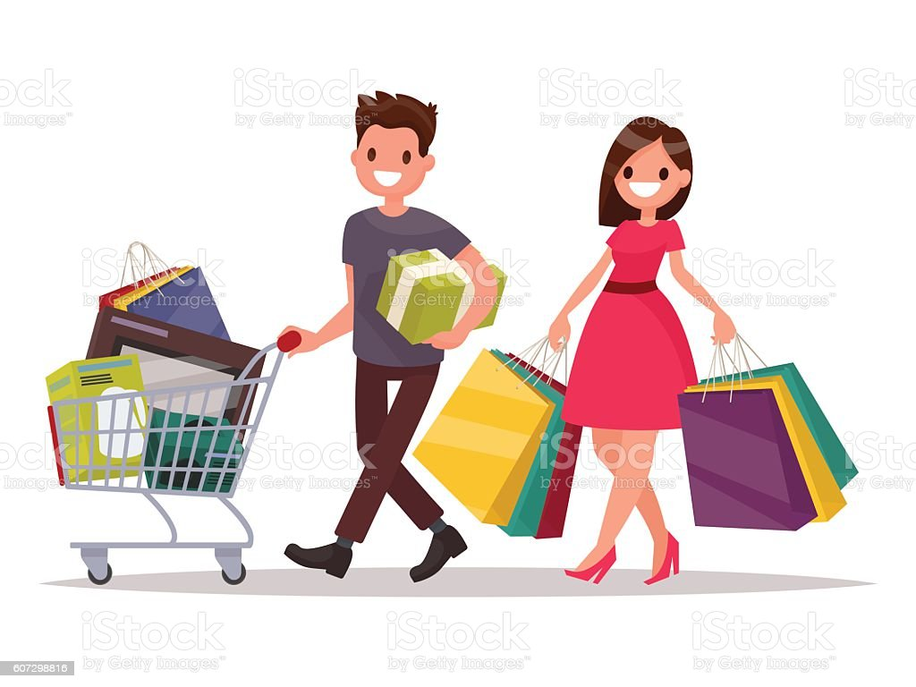 happy family couple with shopping man with a grocery basket stock rh istockphoto com shopping victoria bc shopping victor ny