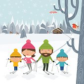 Happy family of four goes cross-country skiing. Winter landscape with forest, deers, snowman and chalet house. Tree with berries and robin bird at the front.