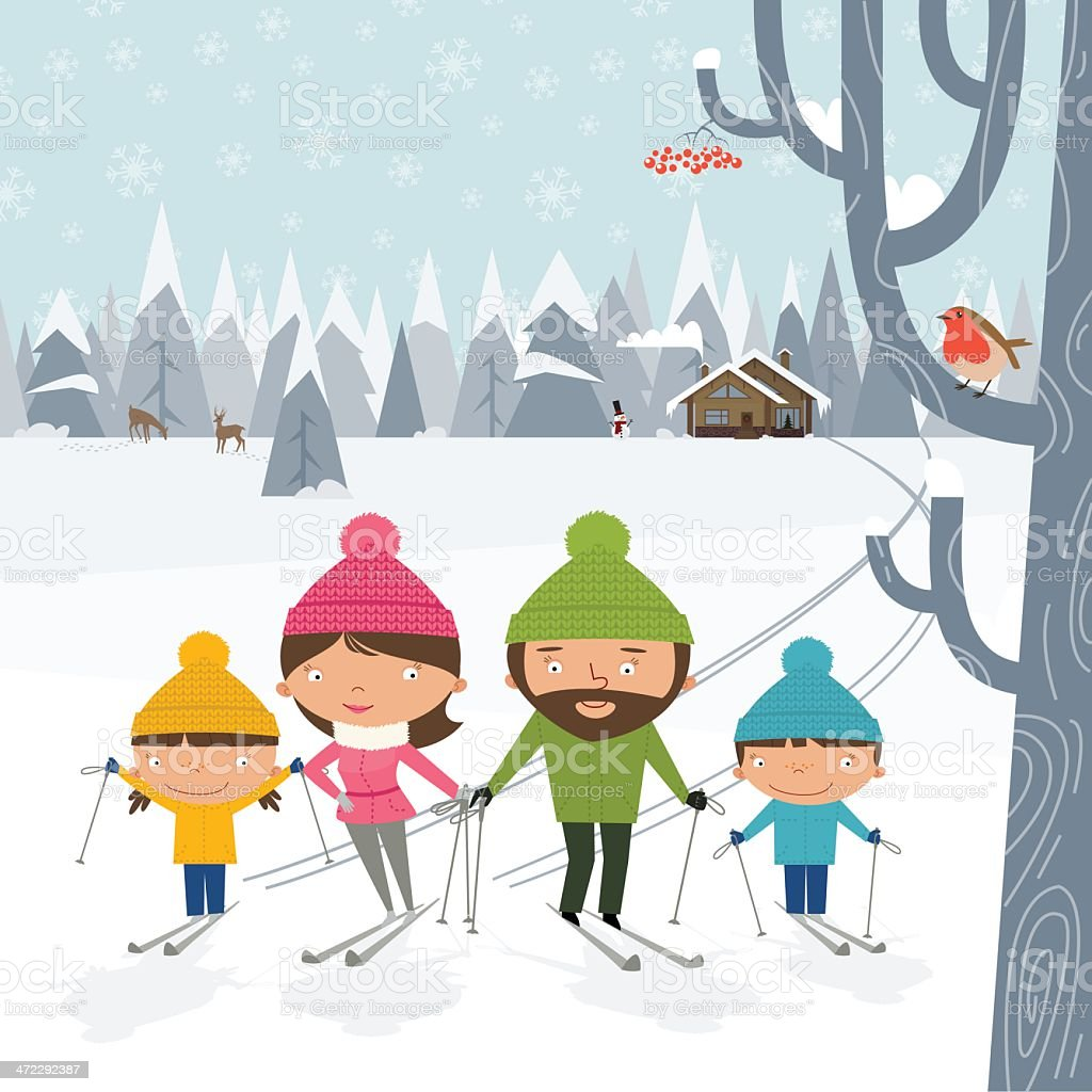 Happy family cross-country skiing vector art illustration