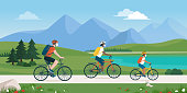 istock Happy family cycling together and wearing face masks 1221860749