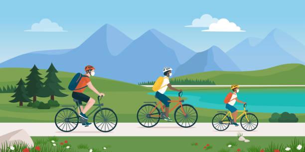 ilustrações, clipart, desenhos animados e ícones de família feliz pedalando juntas e usando máscaras faciais - exterior