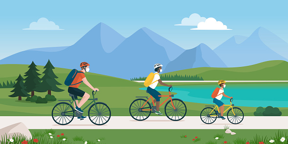 Happy Family Cycling Together And Wearing Face Masks Stock Illustration - Download Image Now