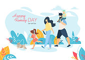 Happy Family Day Horizontal Banner, Mother, Father, Daughter and Son Walking with Pet Outdoors, Little Boy Sitting on Dad Shoulders, People Relaxing Together in Park, Cartoon Flat Vector Illustration