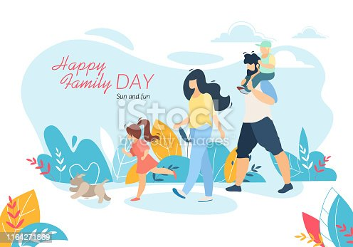 istock Happy Family Day Banner, Outdoor Walking with Kids 1164271869