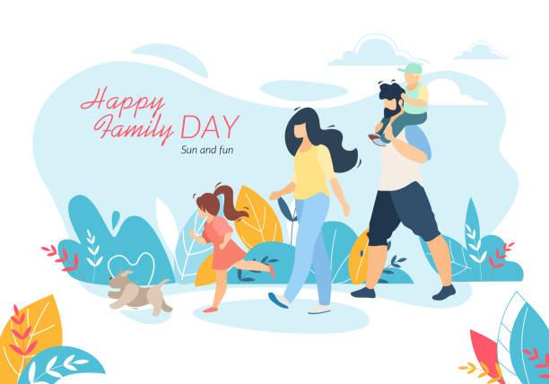 ilustraciones, imágenes clip art, dibujos animados e iconos de stock de feliz banner del día de la familia, caminar al aire libre con los niños - hija