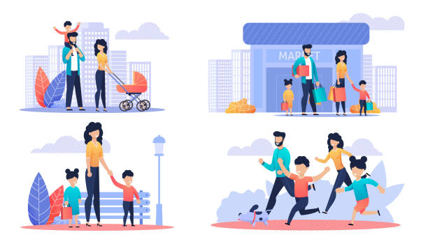 Happy Family Day Off Cartoon Illustration Set Happy Family Day Off Cartoon Illustration Set. Mother, Father and Children Walking in Park or City Street, Shopping at Mall and Running with Dog. Active Time, Recreation Outdoor. Vector Flat Cartoon happy family stock illustrations