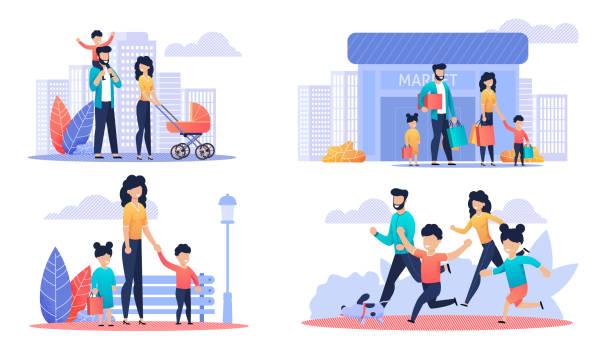 ilustrações, clipart, desenhos animados e ícones de dia feliz da família fora do jogo da ilustração dos desenhos animados - shopping