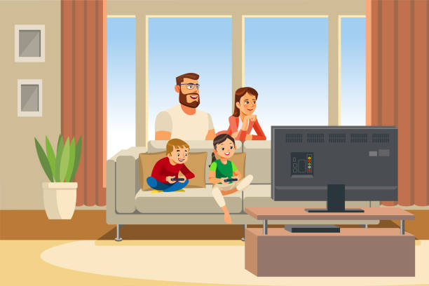 ilustrações de stock, clip art, desenhos animados e ícones de happy family day out cartoon vector illustration - man joystick