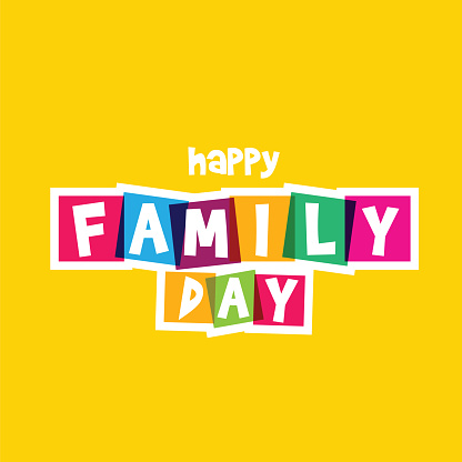 Happy Family Day. Typography on white background. Family design template for gift cards, invitations, prints etc. stock illustration