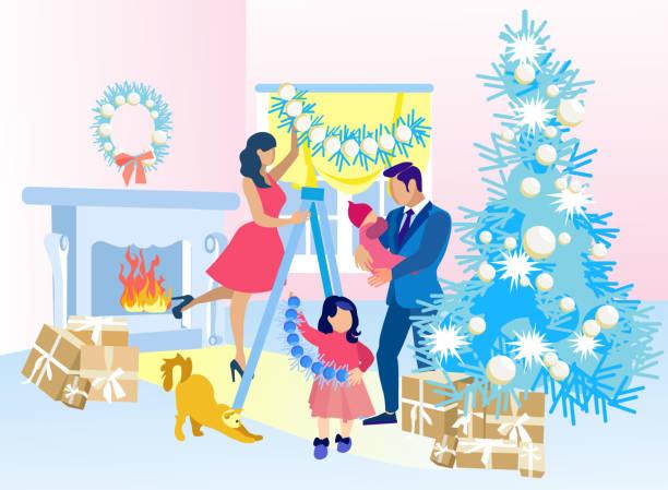 bildbanksillustrationer, clip art samt tecknat material och ikoner med happy family decorat hem till julen tillsammans - christmas gift family