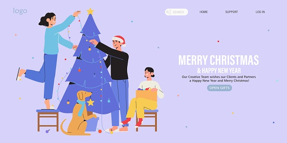 Happy family decorate christmas tree together with garland and baubles. Christmas and new year preparations banner, flyer, landing page. Trendy characters celebrate winter holidays and x-mas at home.