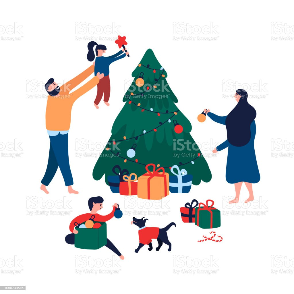 Happy Family Decorating Christmas Tree With Toys Star And Garland For Holiday Stock Illustration Download Image Now Istock