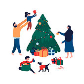 Happy family decorating Christmas tree with toys, star and garland for holiday. Smiling mom dad son and daughter with dog preparing for New Year celebration. Vector illustration in cartoon flat style