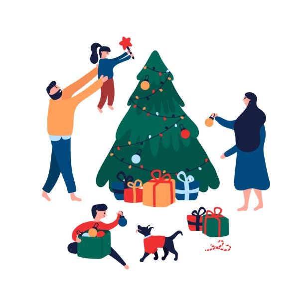 ilustrações de stock, clip art, desenhos animados e ícones de happy family decorating christmas tree with toys, star and garland for holiday - family christmas