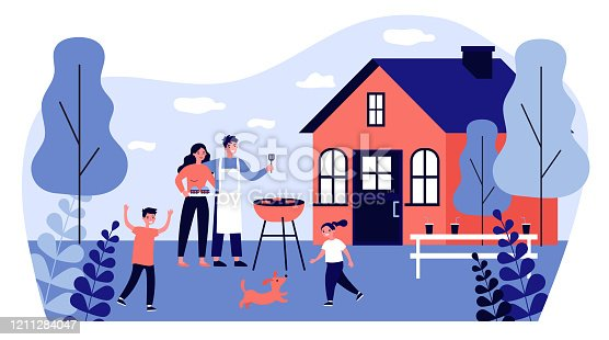 istock Happy family doing barbecue at garden flat vector illustration 1211284047