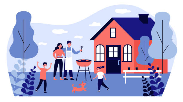 Happy family doing barbecue at garden flat vector illustration Happy family doing barbecue at garden flat vector illustration. Mother and father cooking outdoor near house. Kids playing with dog at backyard. BBQ party and weekend concept backyard stock illustrations