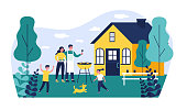 istock Happy family doing barbecue at garden flat vector illustration 1221456418