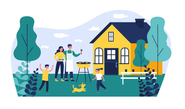 Happy family doing barbecue at garden flat vector illustration Happy family doing barbecue at garden flat vector illustration. Mother and father cooking outdoor near house. Kids playing with dog at backyard. BBQ party and weekend concept garden stock illustrations