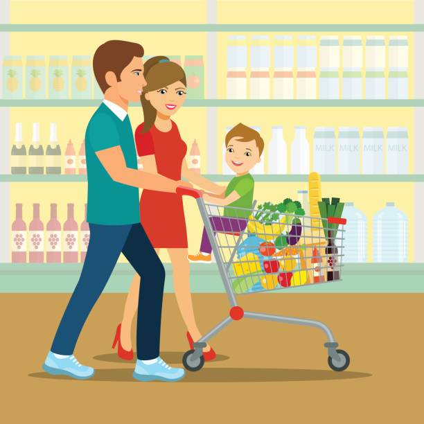 illustrazioni stock, clip art, cartoni animati e icone di tendenza di happy family doing shopping. vector illustration of a flat design - mercato frutta donna