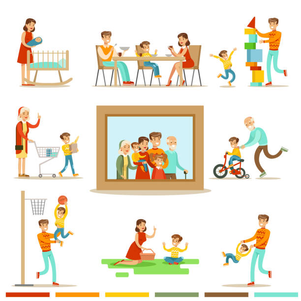 happy family doing things together illustration surrounding big  portrait picture - mensch isst gras stock-grafiken, -clipart, -cartoons und -symbole