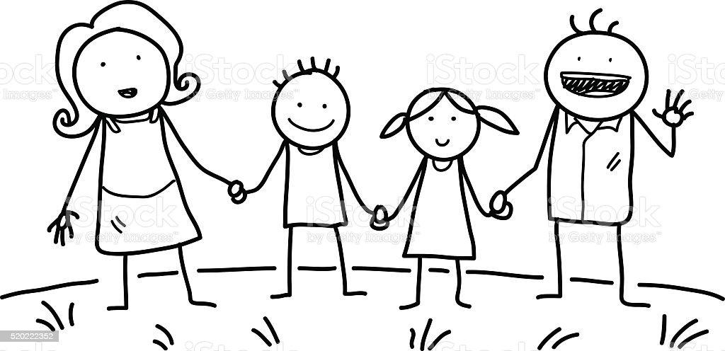 Famille heureuse Doodle - Illustration vectorielle