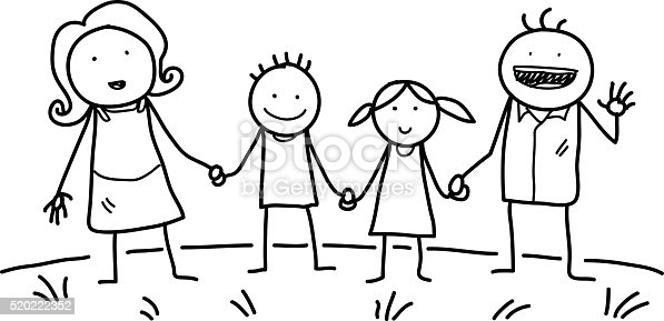 Happy Family Doodle Stock Vector Art & More Images of Care