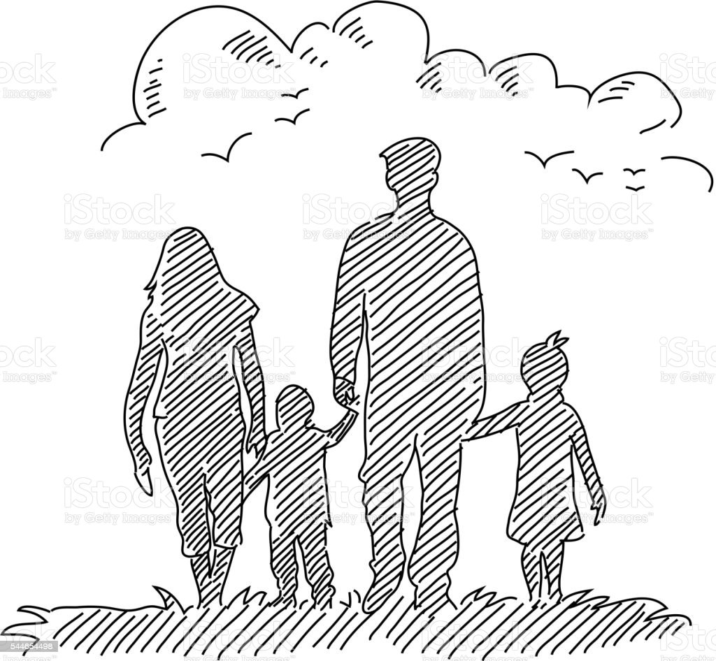 Happy Family Drawing vector art illustration