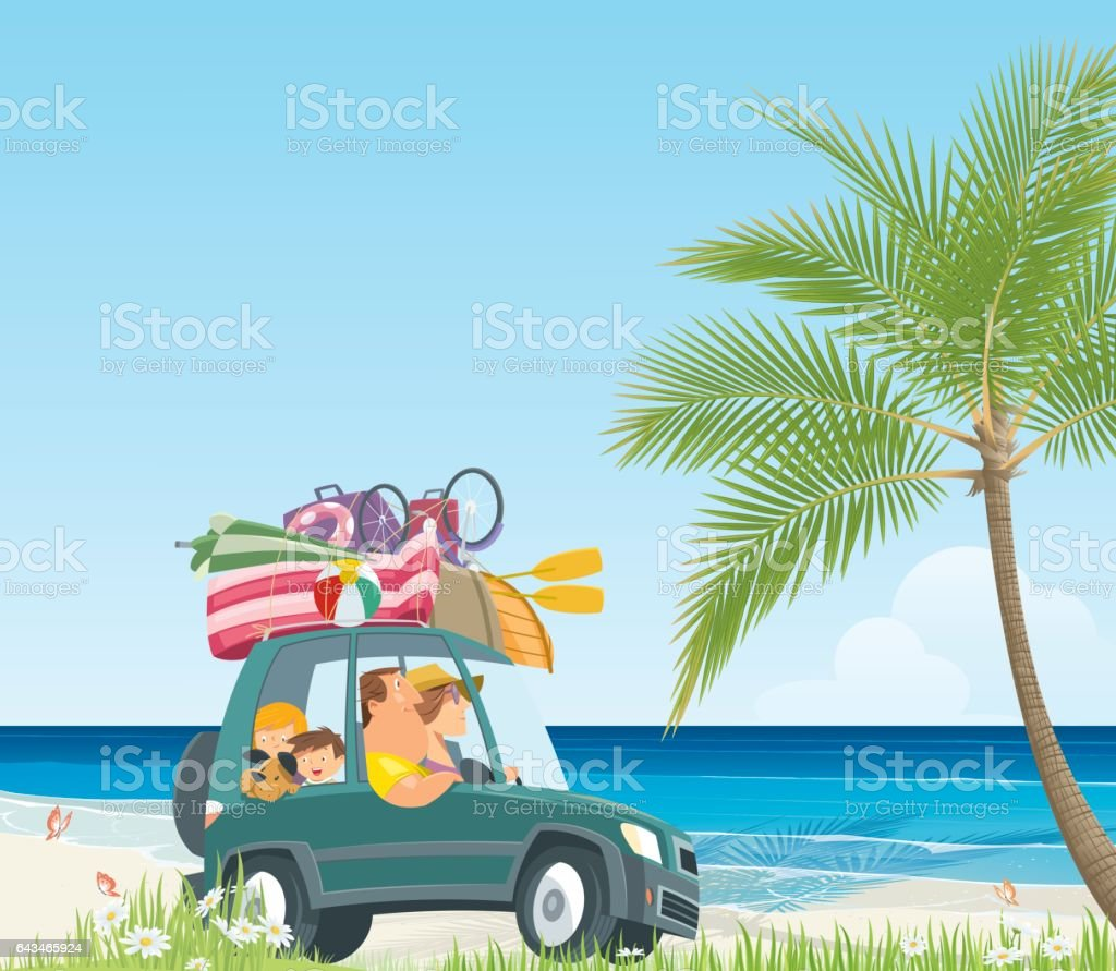 Happy family driving in a car vector art illustration