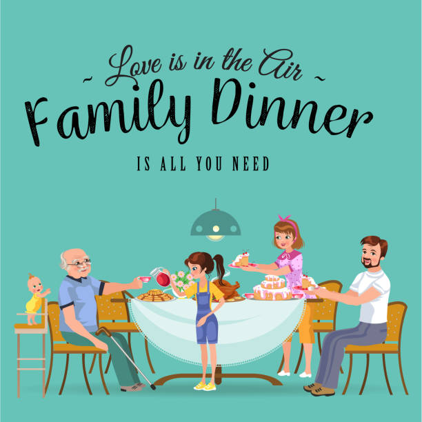 happy family eating dinner at home, people eat food together, mom and dad treat grandfather sitting by dining table, girl takes care of old grandmother, children hold cakes vector illustration - old man sitting backgrounds stock illustrations, clip art, cartoons, & icons
