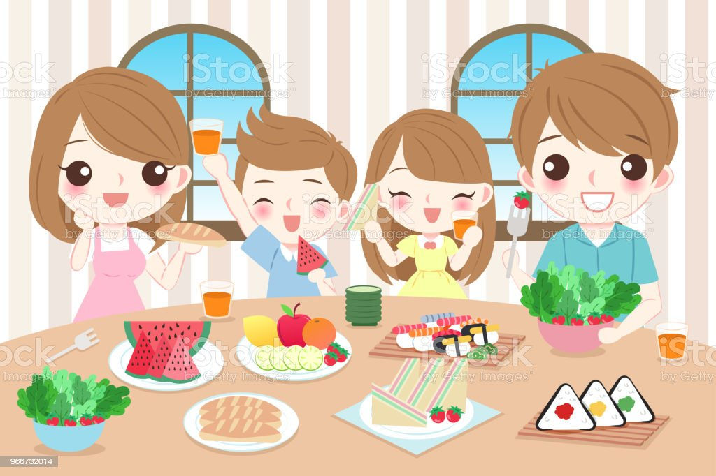 Happy Family Eating Food Stock Illustration - Download ...