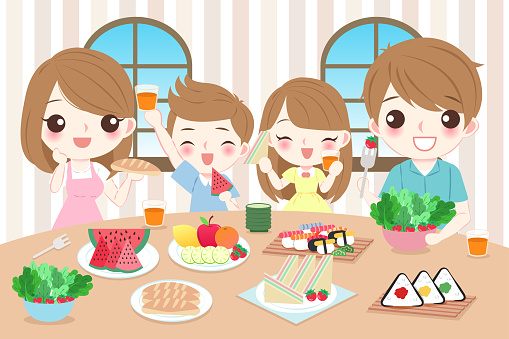 happy family eating food