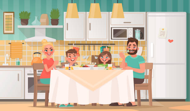 happy family eating in the kitchen. father, mother, son and daughter have breakfast at the table at home - family dinner stock illustrations