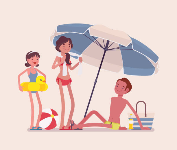 Happy family enjoy rest at the beach Happy family enjoy rest at beach. Parents and daughter, father lie in the sun on sand shore under striped umbrella, relax sun bathing, tourists in warm country. Vector flat style cartoon illustration family trips and holidays stock illustrations